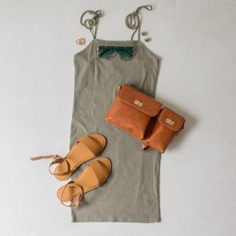 -Olive Green Color -Ribbed -Bodycon  -Tie Straps  -Fabric Stretches -Mini Dress  Materials: 95% Cotton   5% Spandex  DZ21F294 DRESS OLV