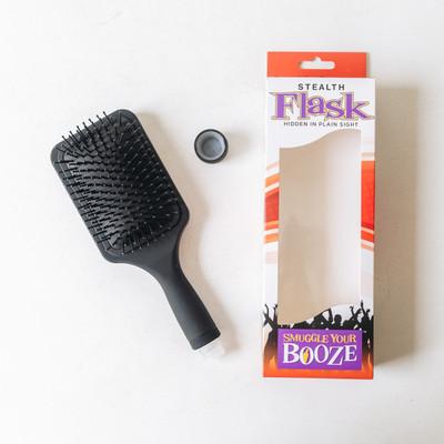 - Hair Brush Flask  - Usable Hair Brush  - Holds 6 oz.  - Reusable