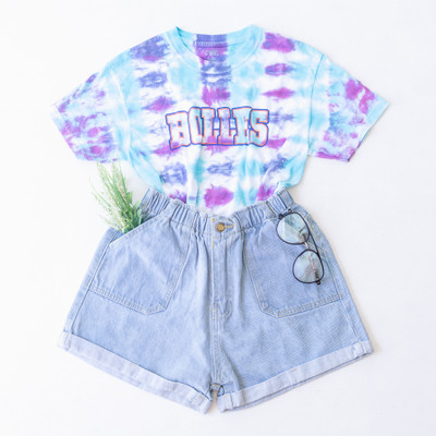 "- Crew Neck  - Short Sleeves  - Blue and Purple Tie Dye  - Cropped - Bolles Design  - Design is on the Front   Top is a size Large     Clothing Measurements: Bust: 17"" Length: 16"" Sleeve Length: 6.5"""