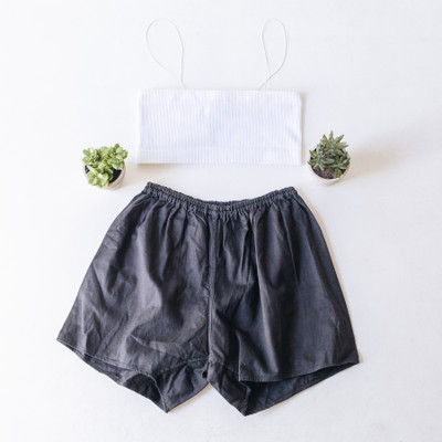 """- Solid Black  - Elastic Waist Band  - Shorts  - These are Vintage so they will vary slightly pair to pair   Bottom is a size Medium   Clothing Measurements: Waist: 12"""" Length: 14"""""""