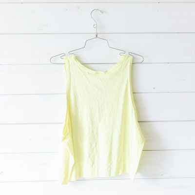 """- Scoop Neck  - Sleeveless  - Neon Yellow Tank  - Beach House Sylvan Beach Design  - Design is on the Front  - Cropped   Top is a size One Size Fits all (Fits like Med-Large)   Clothing Measurements: Bust: 22"""" Length: 19"""" Sleeve Length: 0"""""""