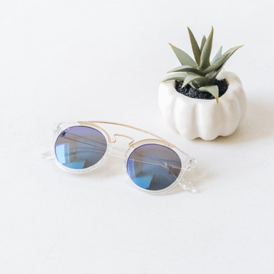 - Clear - Browline Style  - Blue Reflective Lens