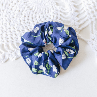 - Scrunchie  - Blue with Flowers