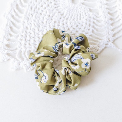 - Scrunchie  - Green with Flowers