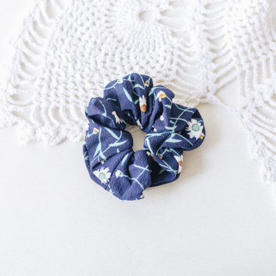 - Scrunchie  - Navy Blue with Flowers