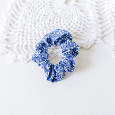 - Scrunchie  - Blue with Paisley Print