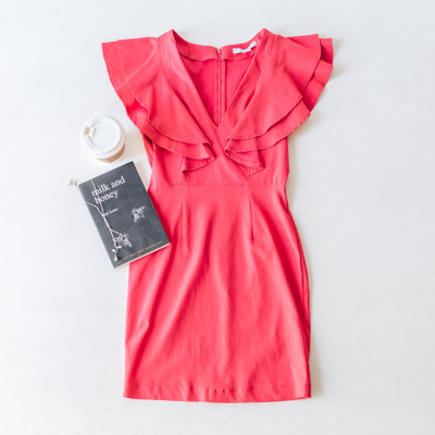 - Comes in Two Colors - Ruffle Detail On Sleeves   - V-Neck  - Zip Closure on the Back  - Body-con Style - Fabric Does Stretch  - Not Lined     Model is Wearing a Small  Material Content:  73% Rayon 23% Nylon 4% Spandex  FL20F538 DRESS