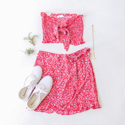 -Red -Floral Print -Wrap -Bow -Ruffles -Skirt -Unlined -Set  Model is Wearing Size Small  Material: 100% Rayon  CT1193 SKIRT REDF
