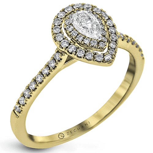 Zr1870-y Engagement Ring 14k Gold White Semi