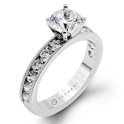 Zr47-a Engagement Ring 14k Gold White Semi