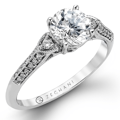 Zr979 Engagement Ring 14k Gold White Semi