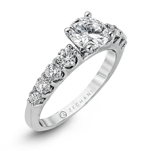 Zr984 Engagement Ring 14k Gold White Semi