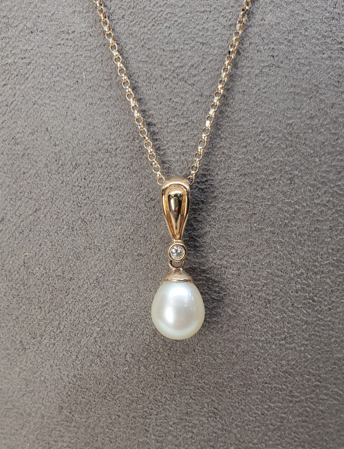 Kabana Freshwater Pearl with Diamonds in Rose Gold