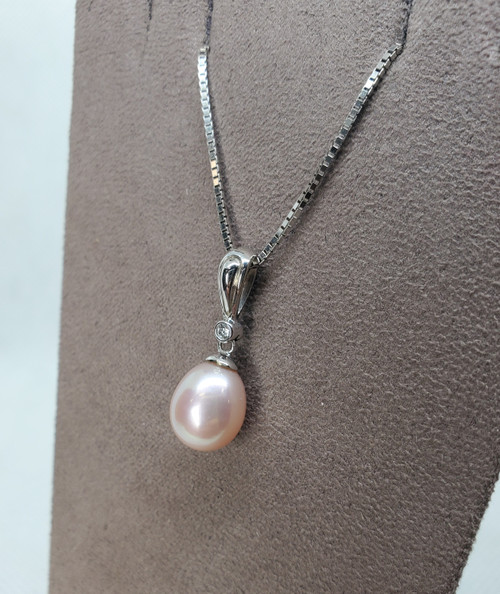 Kabana 9-10mm Freshwater Pearl with Diamonds in White Gold