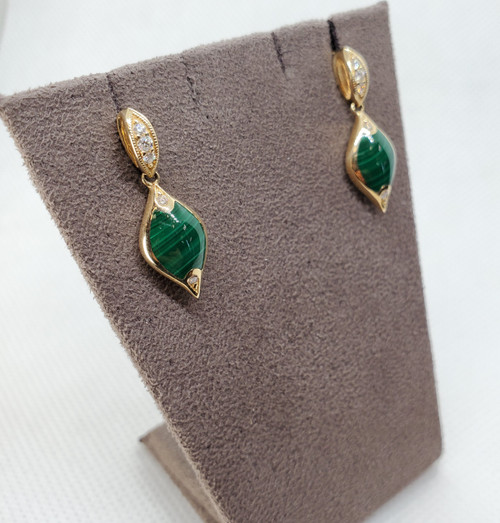 Kabana Malachite Stud Earrings with Diamonds