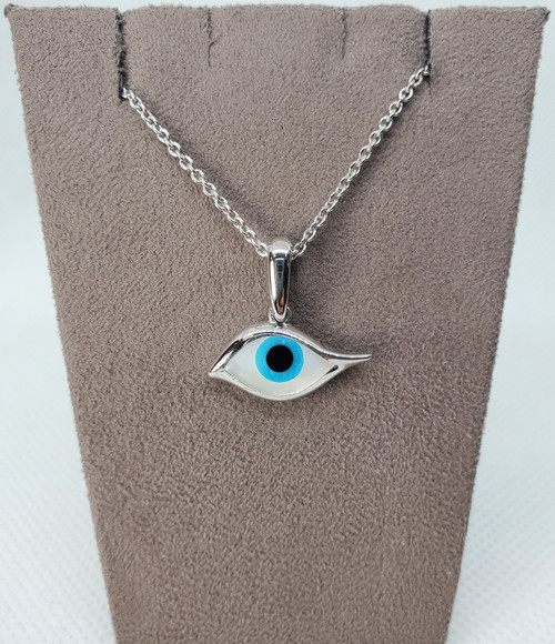 Kabana Sterling Silver Evil Eye with Onyx, Turquoise and Mother of Pearl