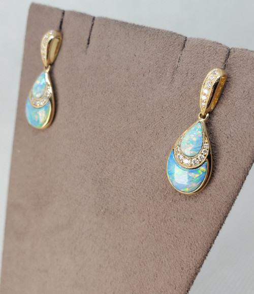 Kabana Austrailian Opal Earrings with Diamonds