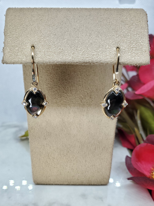 Kabana Black Mother of Pearl Dangle Earrings with Diamonds