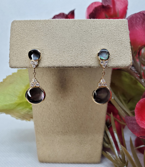 Kabana Round Black Mother of Pearl Earrings with Diamonds