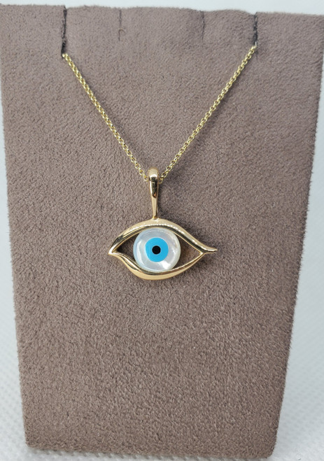 Kabana Turquoise, Mother of Pearl & Onyx Evil Eye Necklace
