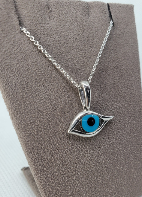 Kabana Sterling Silver onyx and Turquoise Evil Eye