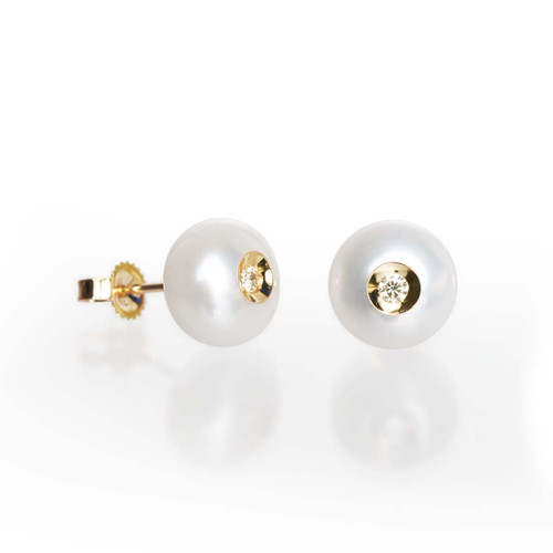 Galatea Diamond in a Pearl Stud Earrings