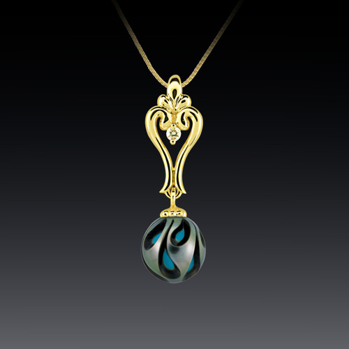 Galatea Carved Tahitian Pearl Pendant with Turquoise