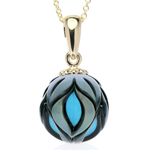 Galatea Hand Carved Pearl Pendant with Turquoise