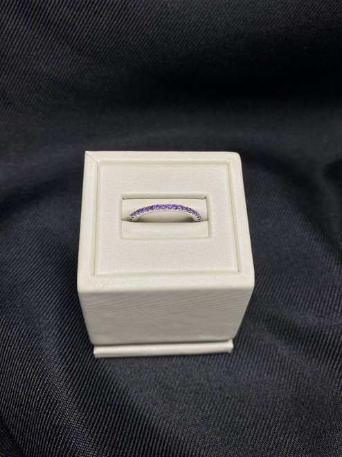 14k White Gold Amethyst Stackable Band