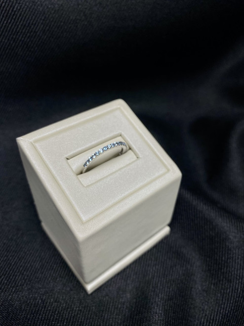 14kt White Gold Blue Topaz Stackable Ring