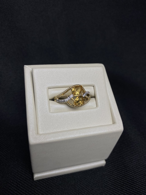 14kt Yellow Gold Double Pear Citrine Ring with Diamonds