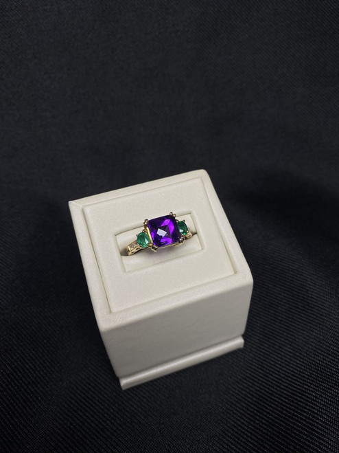 14kt Yellow Gold Amethyst, Emerald, and Diamond Ring