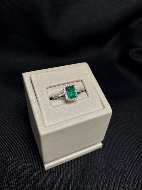 14kt White Gold Emerald Ring with Diamonds