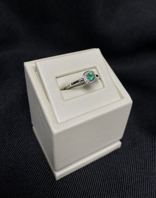 14kt White Gold Round Emerald Ring with Halo