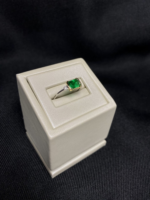 14kt Two Tone Emerald Ring with Dimaonds