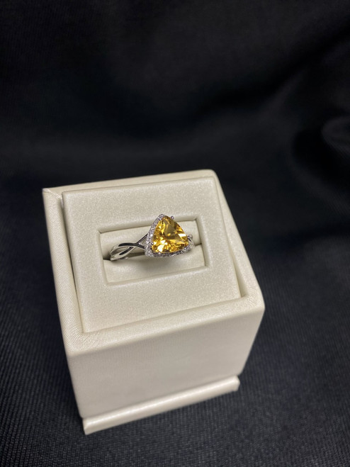14kt White Gold Trilliant Cut Citrine Ring with Diamonds
