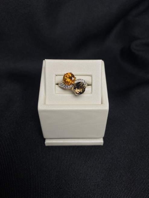 14kt Yellow Gold Citrine and Smoky Quartz Ring with Diamonds