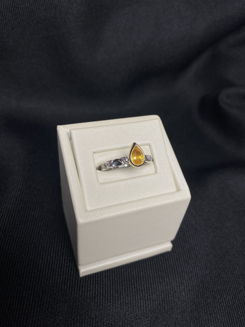 Custom Made 14kt Two Tone Yellow Sapphire Ring