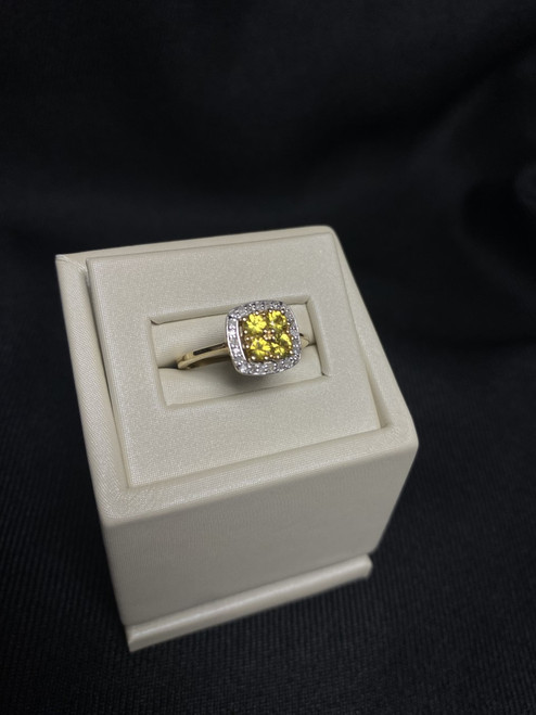 10kt Yellow Gold Yellow Sapphire Ring with Diamonds