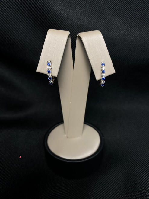 14kt White Gold Hoops with Sapphires and Diamonds