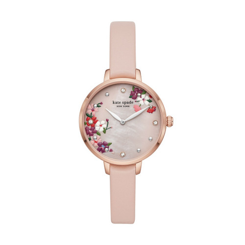 Kate Spade Watch with Floral Face and Leather Band