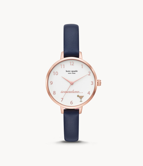 Kate Spade It's 5 O'Clock Somewhere Watch with Navy Blue Leather Band