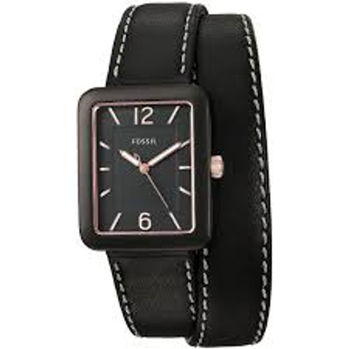 Fossil Atwater Three-Hand Black Leather Wrap Watch