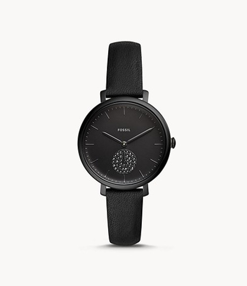 Fossil Jacqueline Three-Hand Black Leather Watch