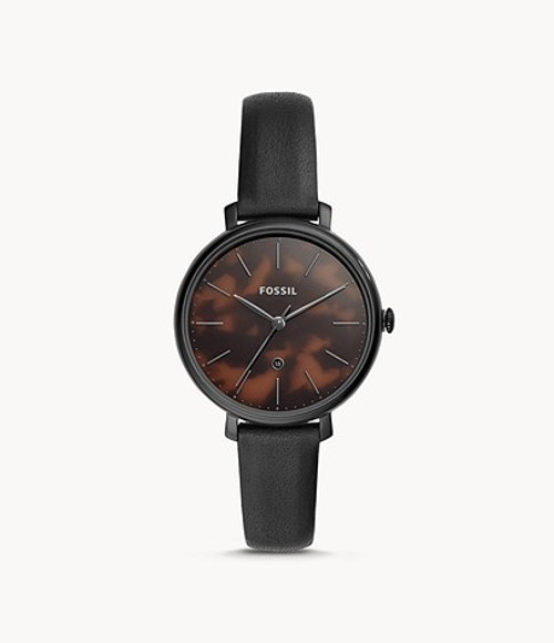 Fossil Jacqueline Three-Hand Date Black Leather Watch Brown Face
