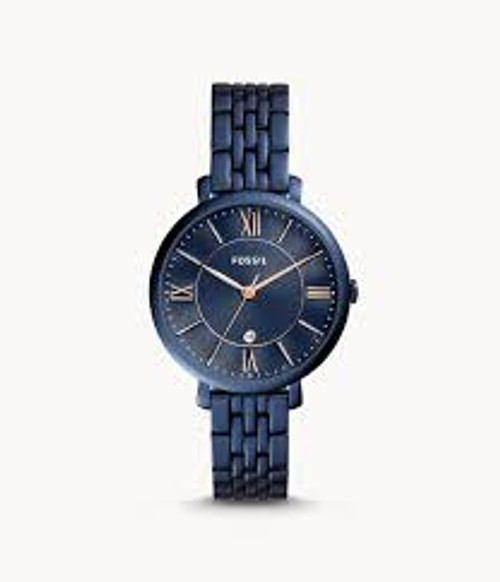 Fossil Jacqueline Three-Hand Date Blue Stainless Steel Watch