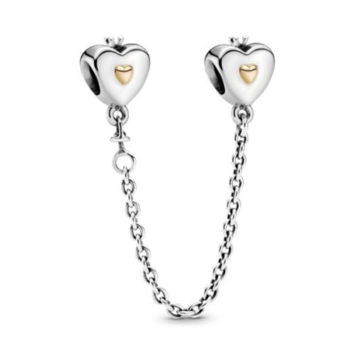 Pandora Safety Chain Heart and Crown Charm