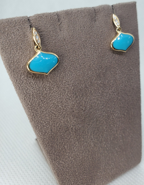 14kt Diamond & turquoise dangle earrings