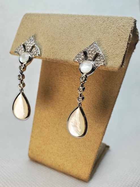 Kabana white mother of pearl & diamond dangle earrings