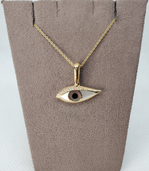 Kabana evil eye pendant with bronze mother of pearl & diamonds (comes with chain)